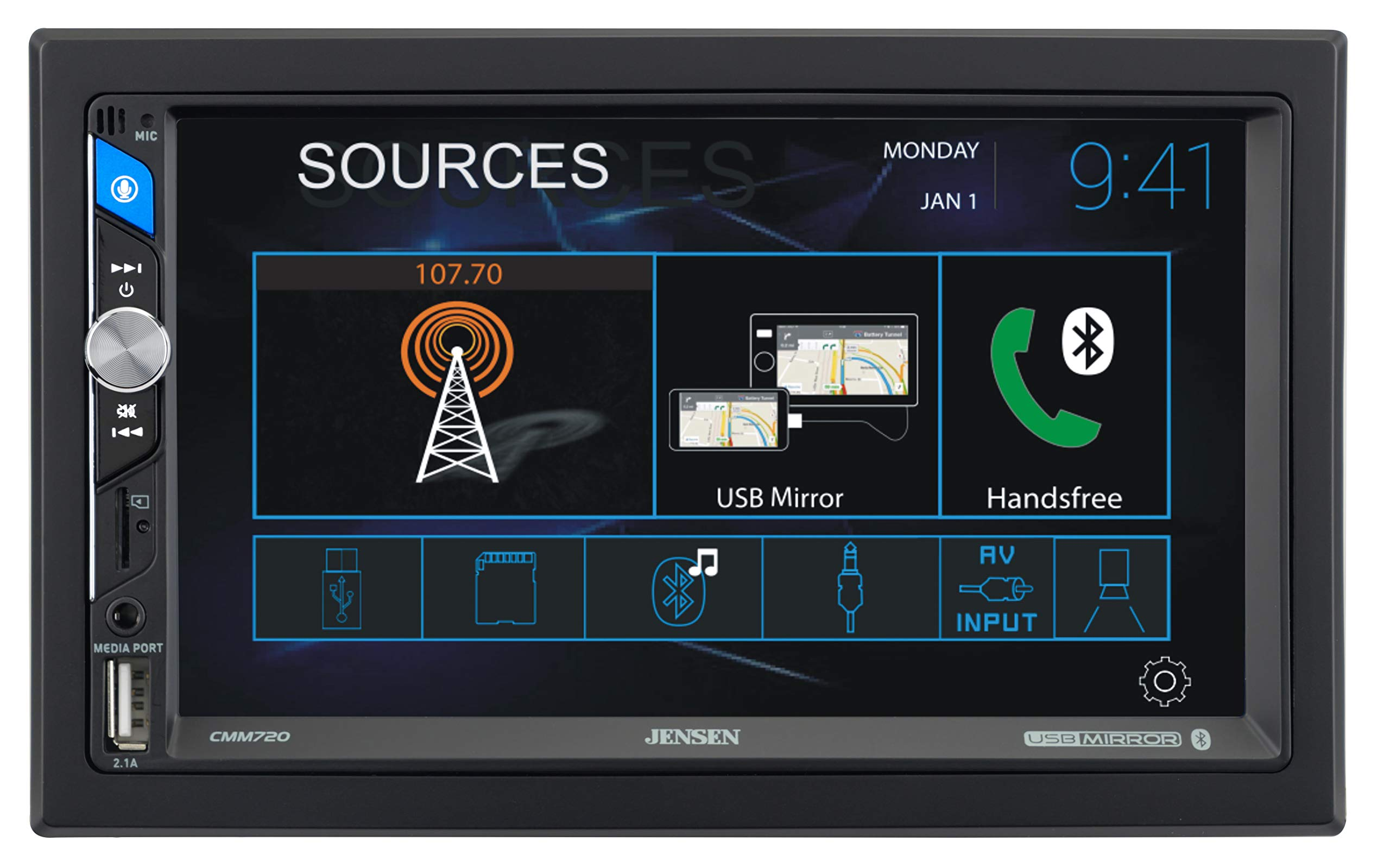 Jensen CMM720 7 inch LED Multimedia Touch Screen Double Din Car Stereo  USB Screen Mirroring USB /& microSD Push to Talk Assistant Front /& Rear Camera Steering Wheel Control Bluetooth