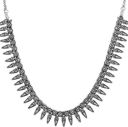 Multiline Company Antique Oxidised German Silver Black Metal Necklace Tribal Banjara White Pearl Beads Necklace Gypsy...