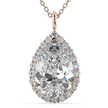 14k Gold (4.69ct) Halo Pear Shaped Diamond Pendant Necklace