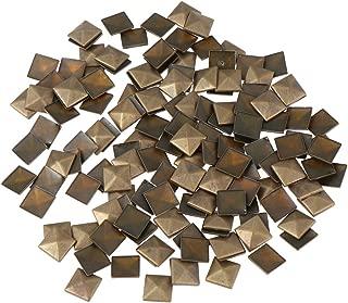 Healifty 100pcs Flatback Studs Leather Rivet Studs Glue On Studs for Bags Shoes Belt Clothes Craft 9x9mm Bronze
