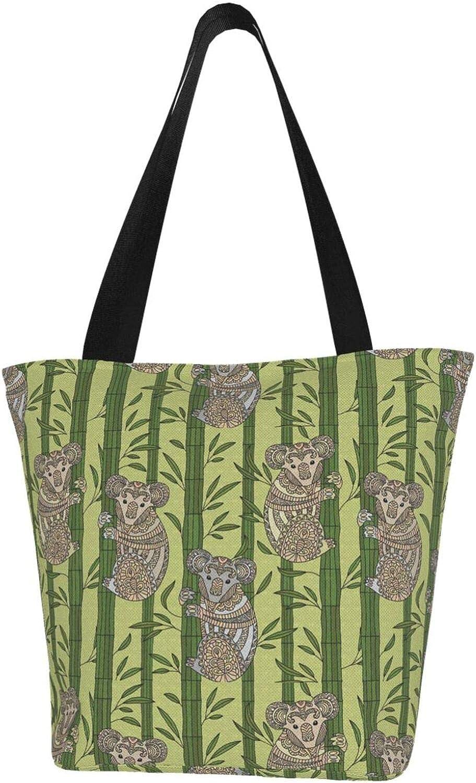 Art Painting Koala Green Tree Themed Printed Women Canvas Handbag Zipper Shoulder Bag Work Booksbag Tote Purse Leisure Hobo Bag For Shopping