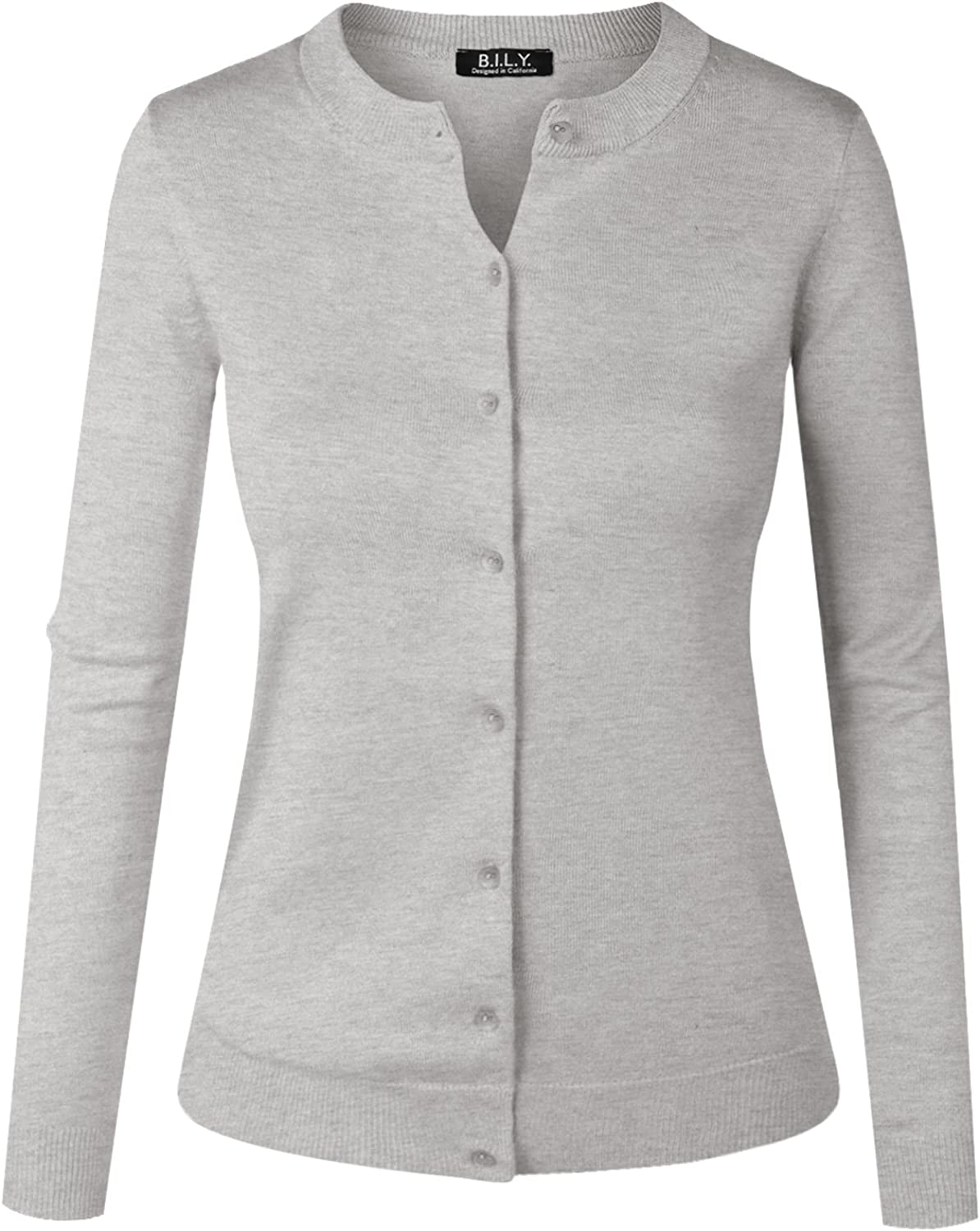 BH B.I.L.Y USA Women's Unique Button Long Sleeve Soft Knit Cardigan Sweater Heather Grey XXLarge