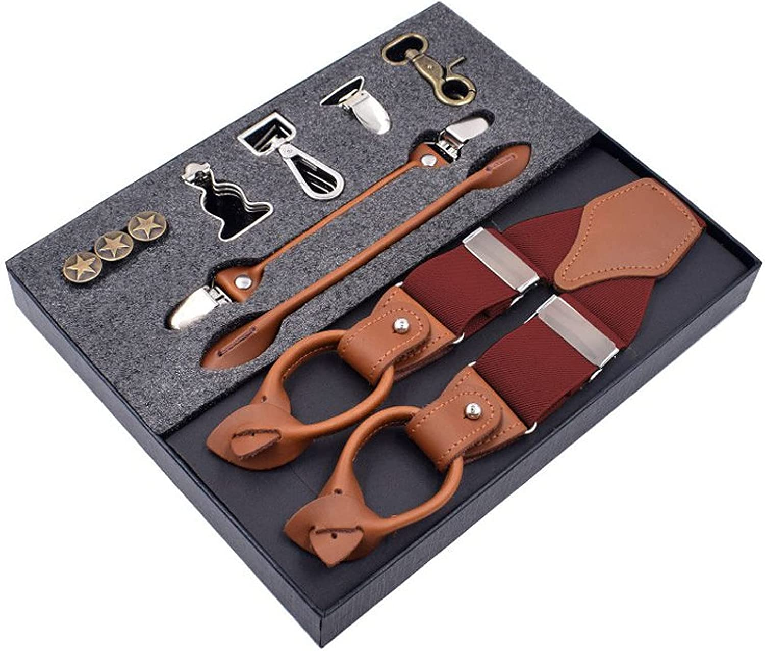 MASKUOY Man's Suspenders Fashion Braces Genuine Leather Suspenders Multifunction Strap Father/Husband's Gift