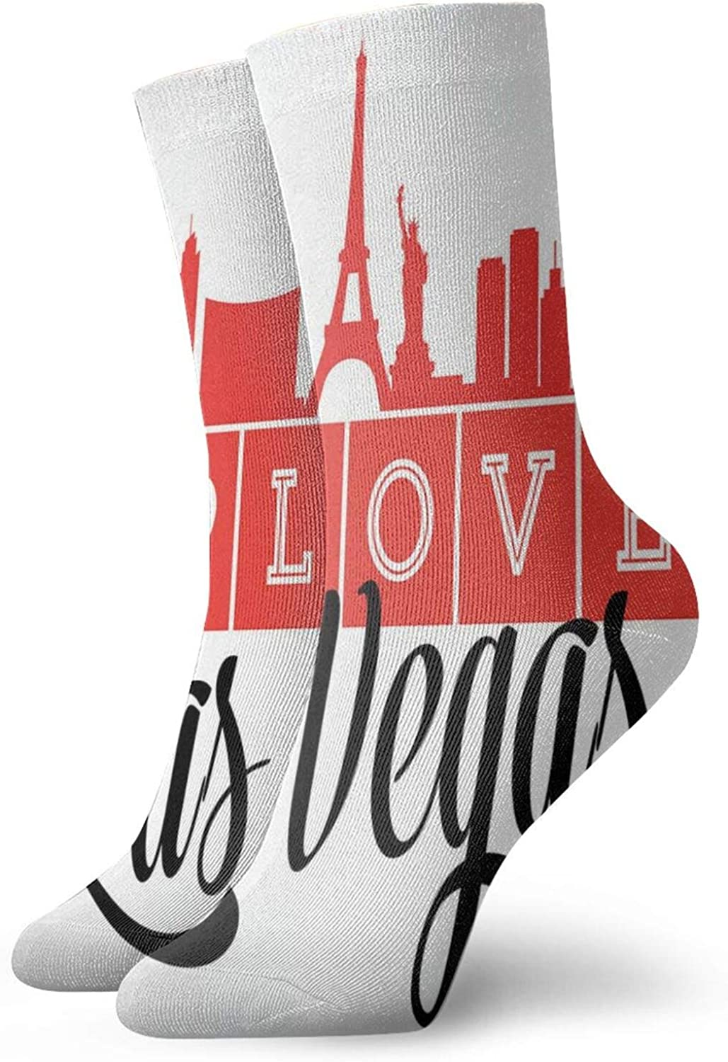 Compression High Socks-I Love Las Vegas Quotation With Silhouette Style Landmarks Pattern Best for Running,Athletic,Hiking,Travel,Flight