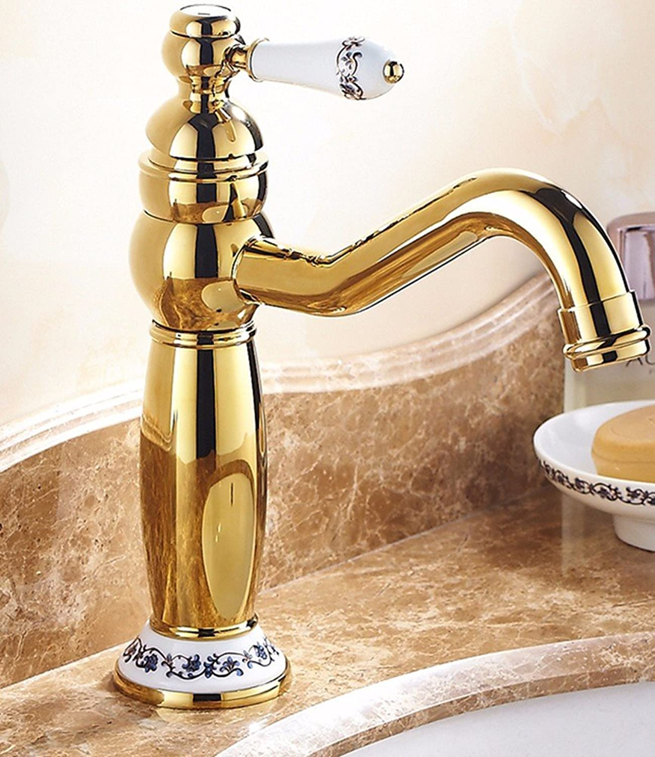 Hlluya Professional Sink Mixer Tap Kitchen Faucet Copper, hot and cold, bathroom, plus high, the basin, gold plated, sink mixer 7