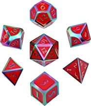Hestya 7 Pieces Metal Dices Set DND Game Polyhedral Solid Metal D&D Dice Set with Storage Bag and Zinc Alloy with Enamel for Role Playing Game Dungeons and Dragons (Electrophoretic Color Edge Red)