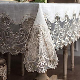 مفرش مائدة مستطيل من الدانتيل من ARTABLE بحافة مكرامية رائعة مطرزة شفافة مفرش مائدة للمطبخ (بيج، 60 × 120 بوصة)