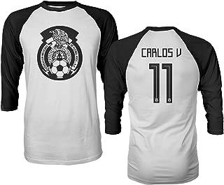 Tcamp Mexico 2018 National Soccer #11 Carlos Vela World Championship Men's Quarter Sleeve Raglan T-Shirt