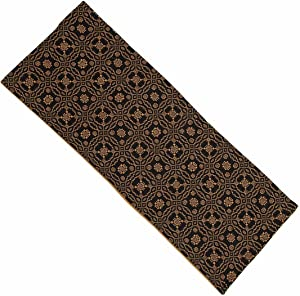 Home Collection by Raghu Lover's Knot Jacquard Black and Mustard Table Runner, 14 by 36""
