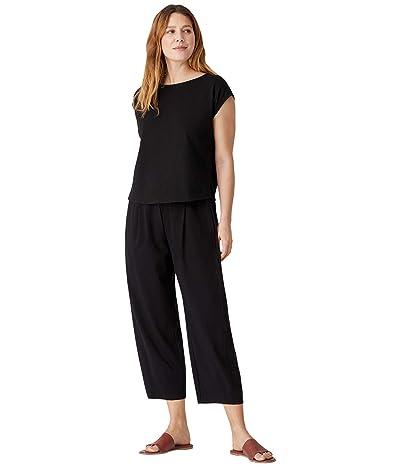 Eileen Fisher Ballet Neck Short Sleeve Box Top in Organic Cotton Stretch Jersey