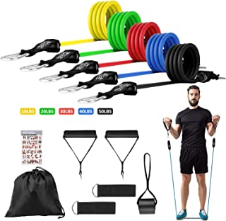 Huhuali Resistance Bands Workout Sets 12 Pcs Men Women Home Fitness Exercise Bands Workout with Door Anchor, Handles, Ankl...