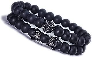 8mm Charm Beads Bracelet Set King Crown Luxury for Men Women Black Matte Onyx Natural Stone