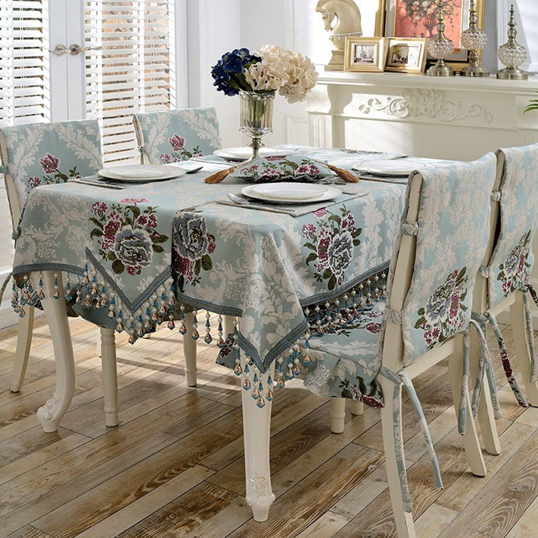 European Simple Rectangular Table Cloth,Living Room Home Anti Slip Table Cover Antihot Heat Resistant Garden Floral Table ClothA diameter100cm(39inch)