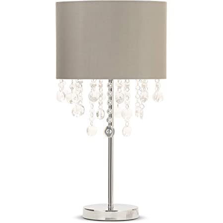 ILLUMINATE Table LAMP, Pale Grey Shade with Chrome Base