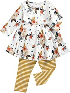 Toddler Kid Baby Girls Fall-Winter Floral Clothes Set Long Sleeve Tunic Princess Dress Top Leggings Pants 2Pcs Outfit
