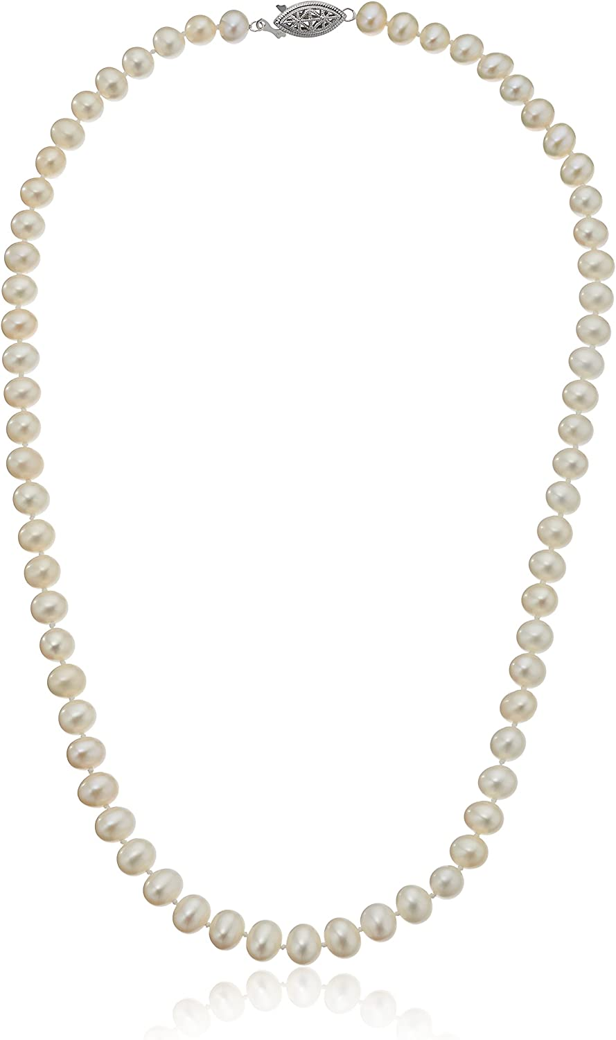 Sterling Silver A-Quality White Ranking integrated 1st place Max 90% OFF Pearl Neckla Freshwater Cultured