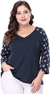 Women's Plus Size Casual V Neck 3/4 Sleeve Raglan Floral Top Blouse
