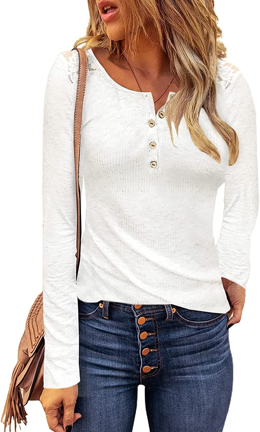 ROSKIKI Womens Crochet Hollow-Out Sleeve Button Down Ribbed Knitted Pullover Tops