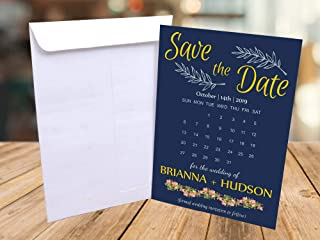 Save the Date Cards with Envelopes | Navy Blue Save The Date Envelopes | Save the Date Magnets | Save the Date Wedding | Save the Date Baby Shower | Boho and Hippie | 001