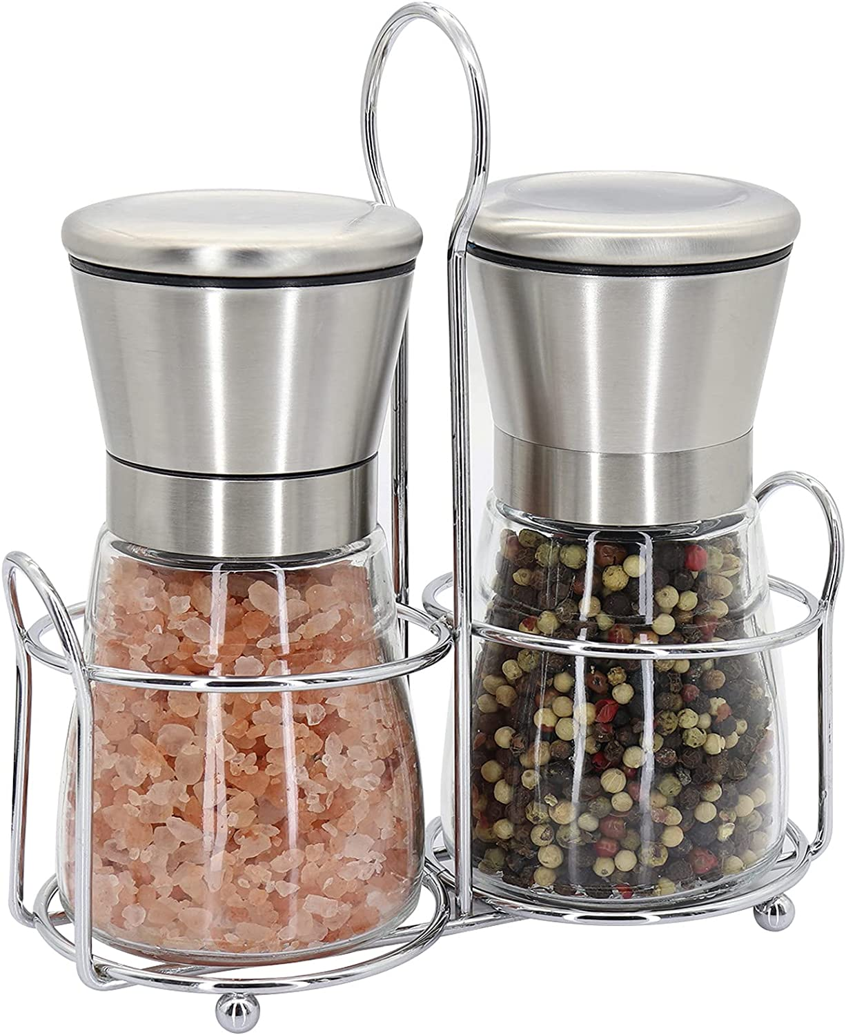 Premium Stainless Steel At the price of surprise Salt and Pepper Glas Finally popular brand Set Short Grinder -