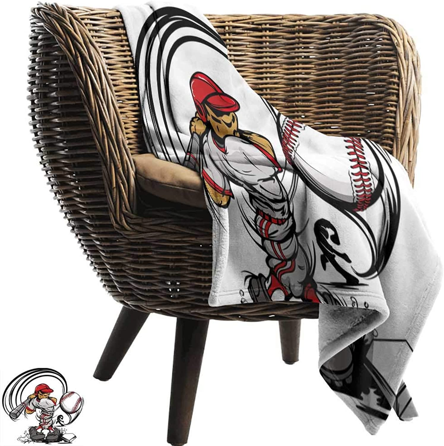 BelleAckerman Throw Blanket,Teen Room Decor,Baseball Cartoon Player Hitting The Ball Boys Kids Caricature Print,Grey Red White,Sofa Super Soft, Plush, Fuzzy Microfiber Throw Reversible,Comfy 50 x70