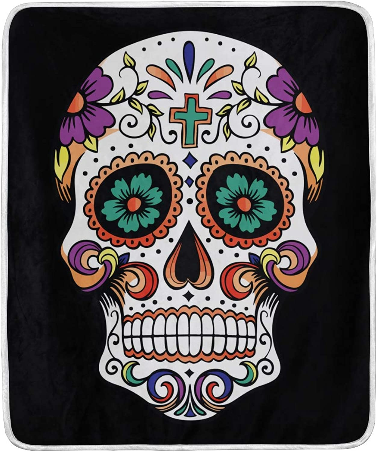 VIMMUCIR Home Decor Sugar Skull colorful Blanket Soft Warm Throw Blankets for Bed Sofa Lightweight Travelling Camping 50 x 60 Inch for Kids Adults