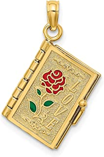 Lex & Lu 14k Yellow Gold Polished Enameled Moveable Love Flower Book Pendant