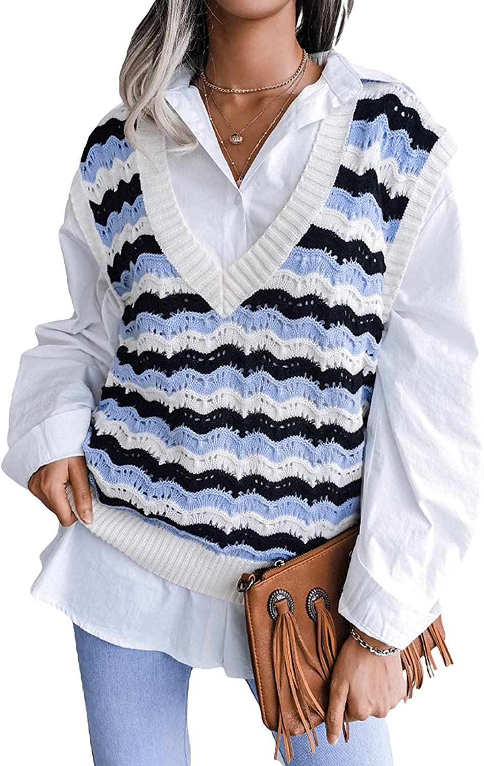 Sweater Vest for Women Oversized V Neck Sleeveless Tank Top Argyle Plaid Cable Knit Tops Preppy Style Y2K Streetwear