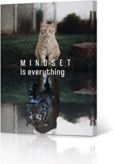HB Art Design Mindset is Everything Canvas Print Motivational Wall Art Cat Lion Design Entrepreneur Quote Living Room Office Decor Inspirational Artwork Gift Ready to Hang 12x8