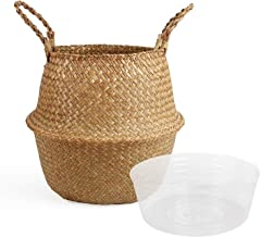 BlueMake Woven Seagrass Belly Basket with Handles for Storage Plant Pot Basket,Toy, Laundry, Picnic and Grocery Basket wit...