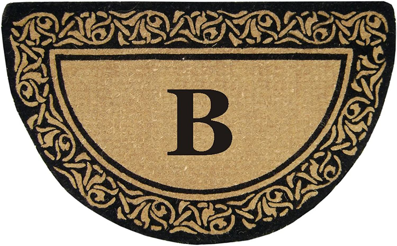 Nedia Home Heavy Duty Half Round Coir Bella Doormat, 22 by 36-Inch, Monogrammed B