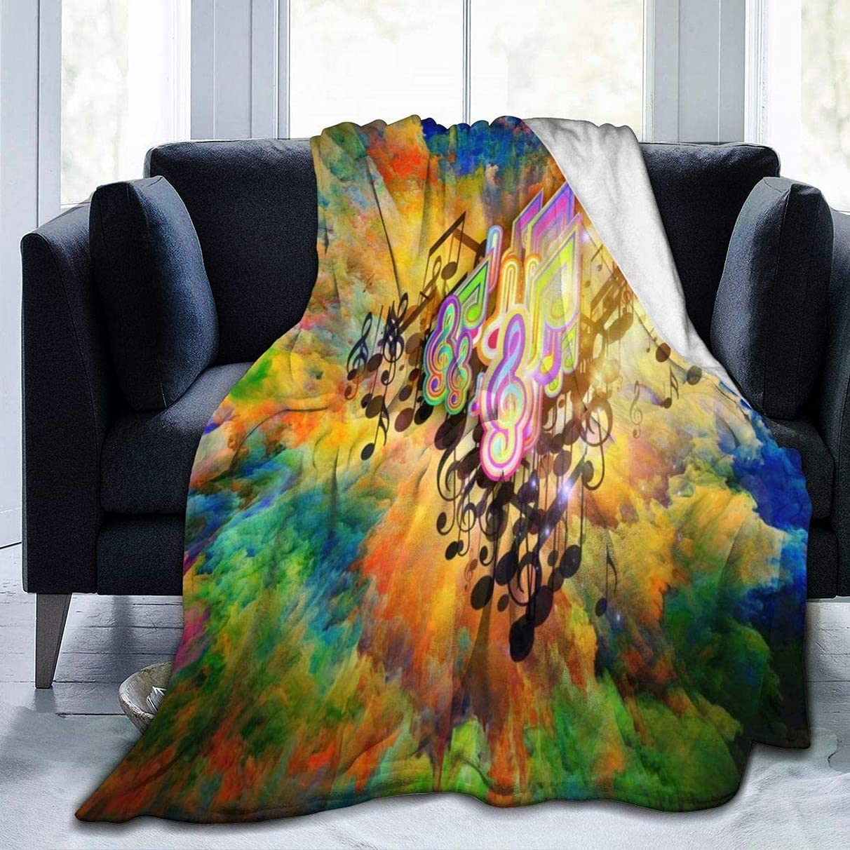 Fleece Blanket Throw Oklahoma City Mall and Throws Clouds Colorful Music Outstanding Note Lig