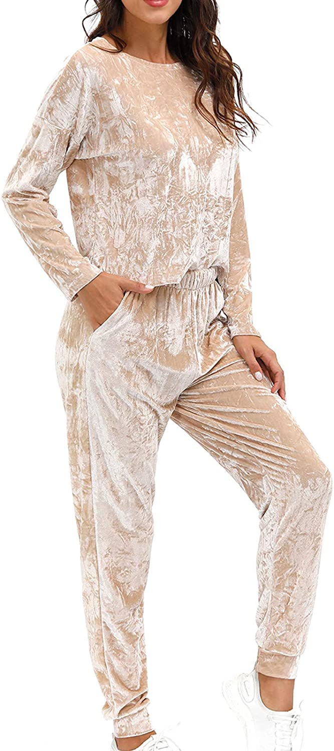 Velvet Two Piece Pants Set Outfit Solid Loungewear Tracksuit Sweatsuits Salimdy 2 Piece Pajama Set