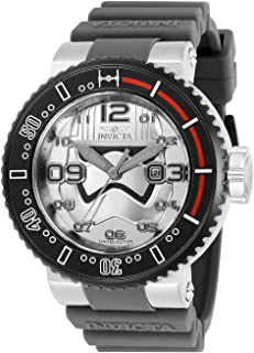 Invicta Men's Star Wars Stainless Steel Quartz Watch with Silicone Strap, Light Grey, 29.8 (Model: 27668)