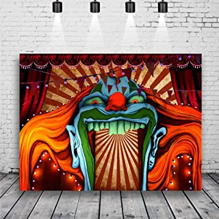 Horror Circus Carnival Theme Halloween Eve Photography Background Giant Birthday Party Photo Background Scary Entrance Giant Evil Vampire Decoration Cake Table Banner Studio Props 7x5ft Vinyl