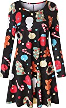 Tanst Womens Casual Long Sleeve Pleated Floral Print Swing Midi Dress