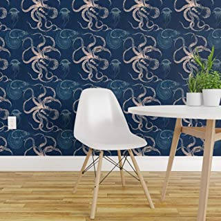 Spoonflower Peel and Stick Removable Wallpaper, Octopus Blue Sea Nautical Modern Block Squid Nautilus Print, Self-Adhesive Wallpaper 24in x 108in Roll