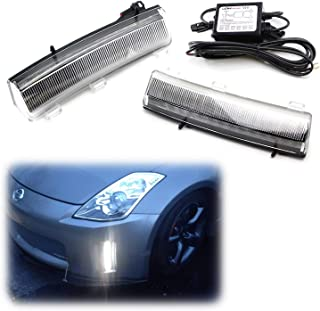 iJDMTOY Clear Xenon White LED Daytime Running Lights Compatible With 06-09 Nissan 350z LCI, Exact Fit Front Bumper Reflector Replacement