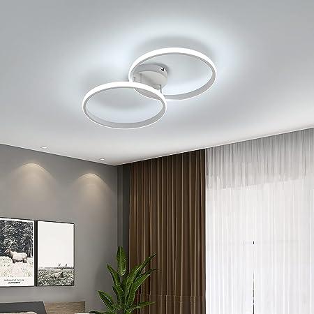 AUA Plafonnier LED, lampe de plafond moderne 42W, double anneau plafonnier en acrylique blanc 6000K, 3360 lumen pour chambre à coucher, salon, bureau