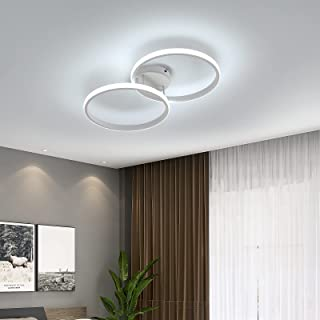 AUA Plafonnier LED, lampe de plafond moderne 42W, double anneau plafonnier en acrylique blanc 6000K, 3360 lumen pour chamb...