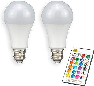 POPP® Bombillas E27 remoto con Mando a Distancia LED Edison A60 RGB-W 10W Equivalente a 70W Incandescente 700Lm 270° SMD Blanco Cálido (Pack 2)