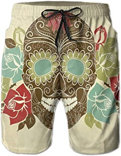 Men Swim Trunks Beach Shorts Toucan Birds with Exotic Blooms and Tropical Palm Tree Leaves Herbs Summer Print
