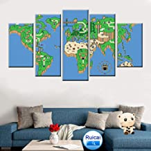 LIVELJ Modular HD Print Wall Art Picture Home Decor Living Room 5 Piece Super Mario Game World Map Painting Poster Canvas Frame