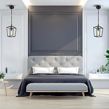 HMVPL Farmhouse Pendant Lighting Fixtures, Black Ceiling Hanging Lights Swag Chandeliers for Bedroom Kitchen Island Entryway