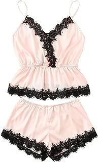 Women's Lace Trim Satin Cami and Shorts Pajama Set