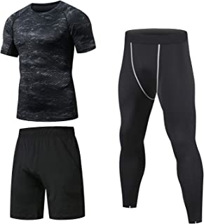 Niksa 3 Pcs Men's Workout Clothes Set with Compression Pants, Sweat-Wicking Shirt and Loose...