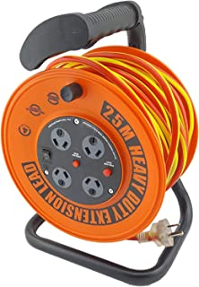 UR24025R ULTRACHARGE 25M Handyman Ext Reel with 4 Way Surge Power Board UR240/25R 25 Metre Cable, Heavy Duty Reel with Sof...