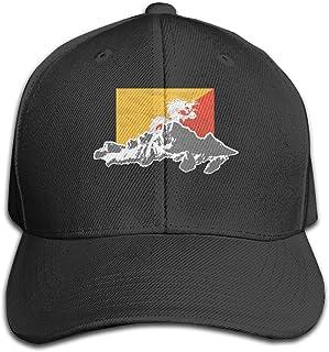 Bonshion Sombrero de Camionero Ajustable de Color Puro de la Bandera de Bhután Gorra Ajustable para Unisexo Negro