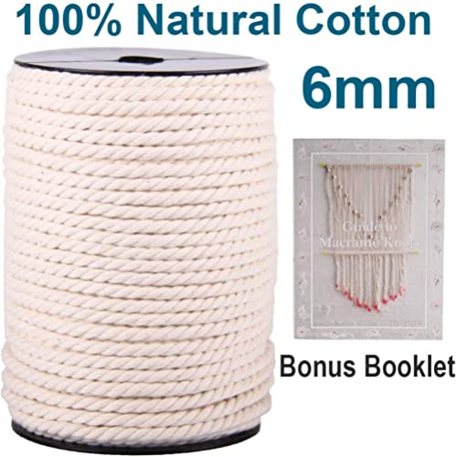 XKDOUS Macrame Cord 6mm x 75Yards, Natural Cotton Macrame Cotton Rope, 3 Strand Twisted Cotton Cord for Wall Hanging,...