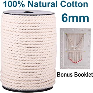 XKDOUS Macrame Cord 6mm x 75Yards | 100% Natural Macrame Cotton Rope | 3 Strand Twisted Cotton Cord for Wall Hanging, Plant Hangers, Macrame Supplies, Crafts, Pet Toys | Soft Undyed Craft Cord